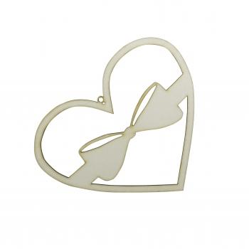 Serce z kokardą sklejka 15x12cm