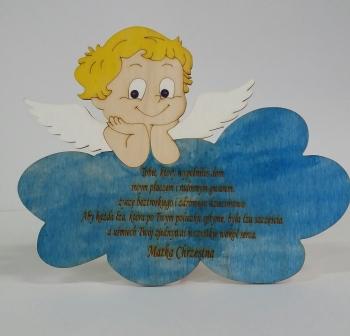 Malowany aniołek z grawerem